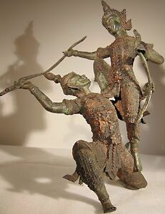 Antique Siam Thai Cambodian Warriors In Battle Guilted Patinated Bronze