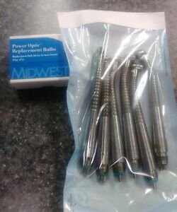 Midwest Tradition Pb Push Button Fiber Optic Dental Handpiece Lot Of 6 Extras
