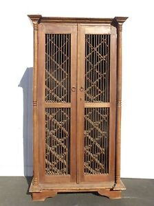 Vintage Teak Wood Rustic Spanish Style Wine Cabinet Storage 48 Bottle Holder