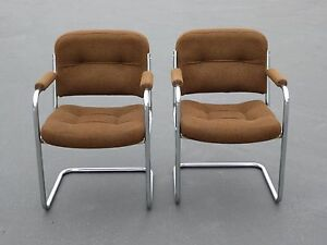 Pair Vintage Mid Century Cantilever Chrome Arm Chairs With Brown Tweed Fabric
