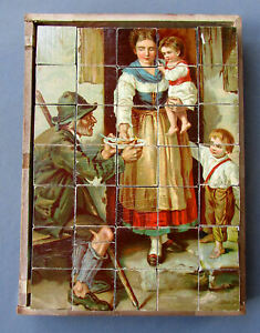 Antique 19th Century Victorian Era 6 Sided Wooden Block Puzzle Lithographs 1880