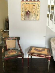 Antique Set Of 3 Hand Painted Wood Furniture Chair Table Wall Decor