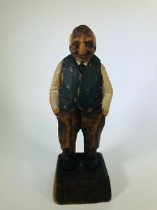Vintage Hand Carved 5 Wooden Statue Old Man With Hands In Pockets Folk Art