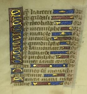 1470 Miniature Latin Manuscript Book Of Hours Leaf Illuminated In Gold No 7
