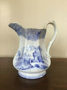 E Challinor Ardennes Blue Transferware Pitcher C 1842