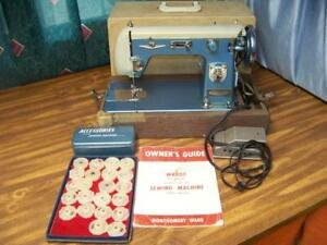 Vintage Montgomery Ward Signature Sewing Machine Japan Blue White All Original