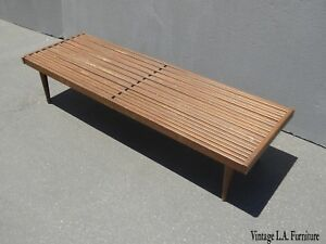 Vintage Mid Century Modern Expandable Bench Or Coffee Table W Wood Slats
