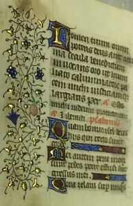 1470 Miniature Latin Manuscript Book Of Hours Leaf Illuminated In Gold No 9
