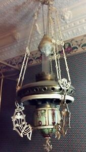 Victorian 40 Majolica Hanging Gas Chandelier Lamp From Estate Vintage Antique
