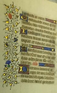 1470 Miniature Latin Manuscript Book Of Hours Leaf Illuminated In Gold No 10