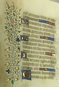 1470 Miniature Latin Manuscript Book Of Hours Leaf Illuminated In Gold No 11