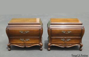 Pair Vintage Bombay Bombe Nightstands W Carved Wood By White Fine Furniture