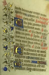 1470 Miniature Latin Manuscript Book Of Hours Leaf Illuminated In Gold No 13
