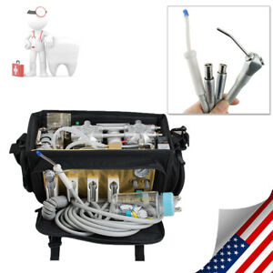 Portable Dental Turbine Unit Bag 4h Air Compressor Suction Syringe Handpiece Kit