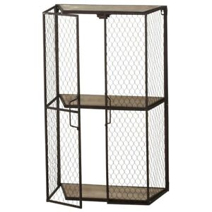 Primitive Country Rustic Farmhouse Chicken Wire Wall Shelf Cabinet 18 X 30 H