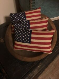 Primitive Handmade Americana Star Flag Bowl Fillers Pillows