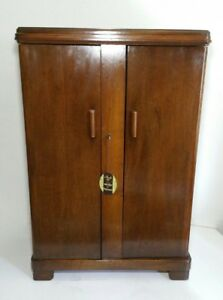 Antique Ferguson Bros N J Solid Walnut Wood Bar Cabinet Swing Doors Mission