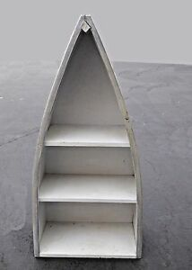 Nautical Style Three Tier Gray Row Boat Bookcase Book Shelf