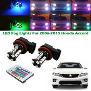 2x Rgb Remote Wireless H8 H11 Led Fog Lights Bulbs For 2006 2015 Honda Accord