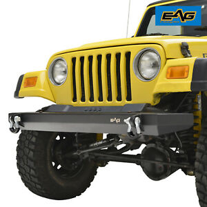 Eag Front Bumper W D Ring Black Textured For 87 06 Jeep Wrangler Tj Yj