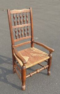 Antique Vintage Rush Twine Seat Carved Wood Accent Arm Chair