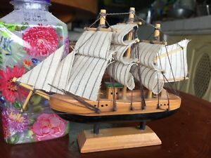 Rare Vintage Handcrafted Nautical Wooden Small Ship Sailboat Home Model Decor