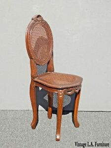 Vintage French Provincial Carved Wood Cane Side Chair Louis Xvi Rococo