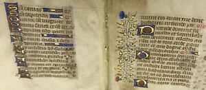 1470 Miniature Latin Manuscript Book Of Hours 2 Leaves Illuminated In Gold 7