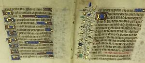 1470 Miniature Latin Manuscript Book Of Hours 2 Leaves Illuminated In Gold 8