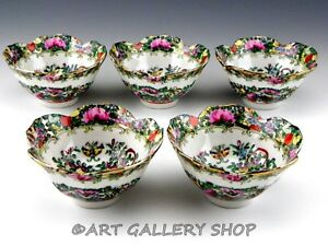 Vintage Chinese Rose Medallion Famille Handpainted 4 5 Rice Bowls Set Of 5