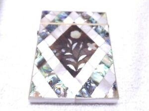 Vintage Inlaid Mother Of Pearl Abalone Velvet Lined Calling Card Case