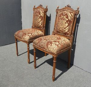 Pair Vintage French Louis Xvi Brown Accent Chairs Ornately Carved Walnut