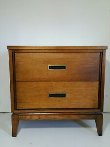 Vintage Mid Century Modern End Table With 2 Drawers Brass Handles