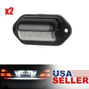 2x White Rear Trailer Tag Led License Plate Lights Car Truck Rv Universal