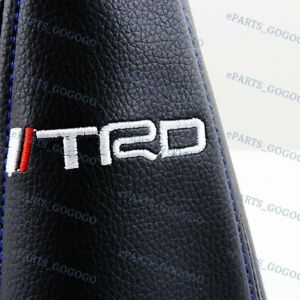 Mt At For Toyota Jdm Trd Racing Pvc Blue Stitch Shift Knob Shifter Boot Cover
