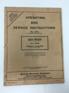 Austin Western 99m Power Grader Operating And Service Instructions Manual 1955