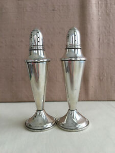 Beautiful Pair Vintage Spaulding Sterling Silver Salt Pepper Shakers