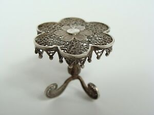 Antique Miniature Sterling Silver Filigree Doll House Parlor Table Furniture