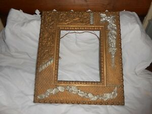 Antique Victorian Gold Silver Gilt Wooden Picture Frame Carved Floral Leaves