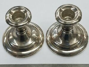 Frank Whiting Co Sterling Silver Candle Holder Set 2001n Weighted Reinforced