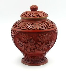 Vintage Chinese Carved Lacquer Cinnabar Ginger Jar 6 X 5
