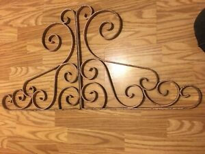 Vintage Wrought Iron Decorative Shelf Brackets Pair