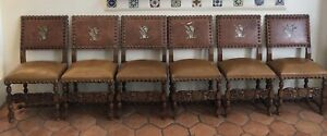 Six Vintage Spanish Revival Leather Embossed Brass Nail Heads Dining Chairs