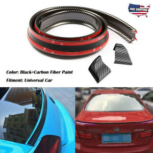 Universal Car Suv Rear Roof Trunk Spoiler Wing Lip Trim Black Sticker 4 9ft 1 5m
