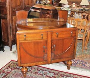 English Antique Oak Art Deco Sideboard With Mirror Server Wine Bar Cabinet