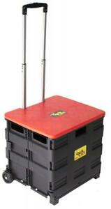 Quik Cart Two wheeled Collapsible Handcart With Red Lid Rolling Utility Cart