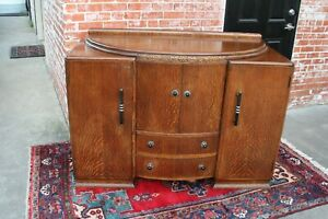 English Antique Oak Art Deco Sideboard Buffet Wine Bar Drink Furniture Cabinet