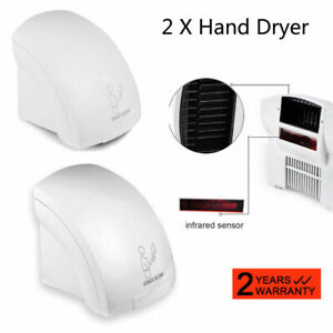 2 Pack Air Hand Dryer Electric Automatic Sensor Commercial Bathroom 1800w Speed