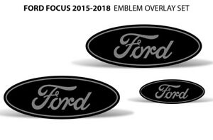 Oval Badge Emblem Logo Overlay Sticker Decals For Ford Focus 2015 2018 Grey Blk