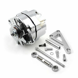 Chevy Sbc 350 100 Amp 1 Or 3 Wire Alternator Lwp Aluminum Bracket Kit Polished